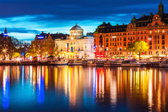 Cenário da noite de Éstocolmo, Suécia Fotos de Stock Royalty Free