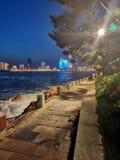 Cenário da noite dentro do parque pequeno de Qingdao imagens de stock royalty free