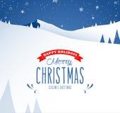 Cenário da paisagem da montanha do inverno e texto do Feliz Natal Imagem de Stock