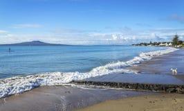 Cenário da paisagem da praia Auckland Nova Zelândia de Milford; Vista à ilha de Rangitoto durante Sunny Day imagem de stock