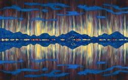 Cenário da pintura a óleo Seascape abstrato fantástico ilustração do vetor