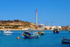 Cenário de Marsaxlokk, Malta Fotografia de Stock