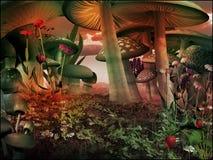 Cenário do conto de fadas com cogumelos Imagens de Stock