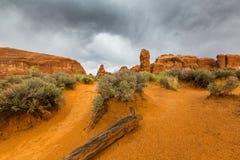 Cenário do deserto do parque nacional dos arcos no outono Fotos de Stock Royalty Free