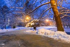 Cenário do inverno do parque nevado em Gdansk Foto de Stock Royalty Free