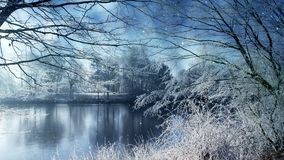 Cenário do inverno e neve de queda ilustração stock