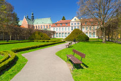 Cenário do verão do palácio dos abades em Gdansk Oliwa Imagem de Stock