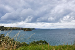 Cenário e paisagens através da terra e da água na ilha N de Waiheke Fotografia de Stock Royalty Free