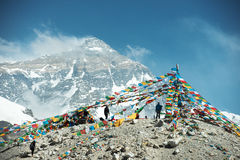 Cenário espetacular da montanha no acampamento base de Monte Everest fotos de stock
