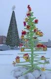 Cenário festivo com árvores originais Fotos de Stock
