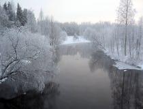 Cenário invernal do rio fotografia de stock royalty free