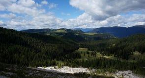 Cenário maravilhoso das montanhas e do cume da dolomite da vista panorâmica Fotografia de Stock Royalty Free