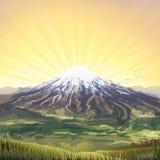 Cenário nebuloso coberto de neve do pico de montanha Imagens de Stock