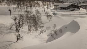 Cenário nebuloso nevado da montanha perto de Goshiki Onsen fotografia de stock royalty free