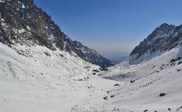 Cenário nevado do vale em montanhas do inverno Imagem de Stock