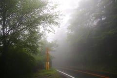 Cenário nevoento na caminhada até montanhas do kogen de Ebino ao longo de uma estrada, Kyushu, Japão imagens de stock