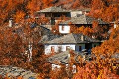Cenário outonal brilhante com casas velhas Imagens de Stock Royalty Free