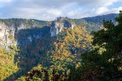 Cenário outonal da montanha de Rodopi, Bulgária Fotografia de Stock