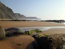 Cenário selvagem da praia do oceano perto de Sagres, o Algarve, Portugal Fotos de Stock