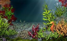 Cenário subaquático com peixes e cavalo de mar Imagens de Stock