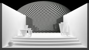 Cena abstrata com formas geométricas, na cor preto e branco - rendição 3D ilustração stock