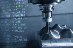 A cena abstrata da máquina de trituração do CNC foto de stock