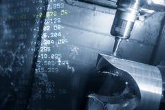 A cena abstrata da máquina de trituração do CNC de 5 linhas centrais foto de stock royalty free