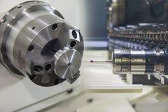 Cena abstrata da máquina do giro ou do torno do CNC imagem de stock
