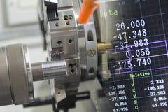 A cena abstrata da máquina do torno do CNC imagem de stock