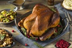 Cena affumicata casalinga organica della Turchia per il ringraziamento immagini stock libere da diritti