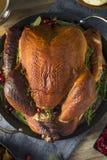 Cena affumicata casalinga organica della Turchia per il ringraziamento fotografia stock libera da diritti
