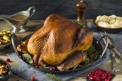Cena affumicata casalinga organica della Turchia per il ringraziamento fotografie stock
