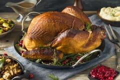 Cena affumicata casalinga organica della Turchia per il ringraziamento fotografie stock libere da diritti