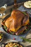 Cena affumicata casalinga organica della Turchia per il ringraziamento immagine stock