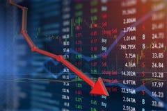 Cena akcji gwałtownie spadać z negatywną wiadomością Zdjęcia Stock