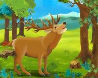 Cena animal dos desenhos animados - cervo Fotografia de Stock Royalty Free