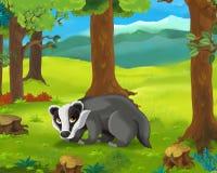 Cena animal dos desenhos animados - texugo Fotos de Stock Royalty Free