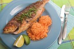 Cena asada a la parilla de los pescados Fotos de archivo