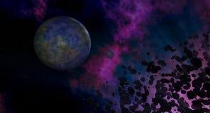 Cena asteroide Backround do espaço da nebulosa do planeta Fotografia de Stock