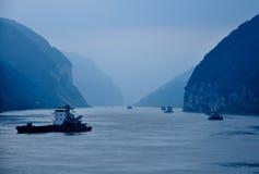 Cena azul do rio no rio do yangze Fotografia de Stock