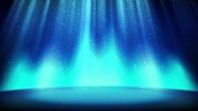 Cena azul no fundo do brilho, lugar vazio iluminado pelo projetor ciano brilhante, partículas efervescentes brilhantes de queda C ilustração royalty free