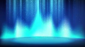 Cena azul no fundo do brilho, lugar vazio iluminado pelo projetor ciano brilhante, partículas efervescentes brilhantes de queda C ilustração do vetor