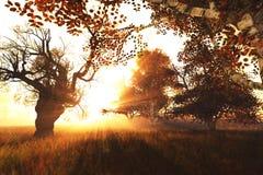 A cena bonita 3D da natureza da floresta do outono rende 1 Imagem de Stock Royalty Free