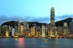 Cena bonita da noite de Hong Kong Imagem de Stock