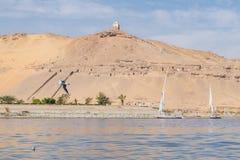 Cena bonita para Nile River e barcos fotos de stock royalty free