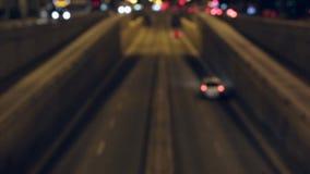 Cena borrada do tráfego da noite em Barcelona Lapso de tempo video estoque