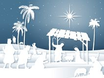 Cena branca da natividade do Natal da silhueta das sombras macias com três Reis Magos ilustração do vetor