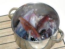 Cena (calamares) imagen de archivo
