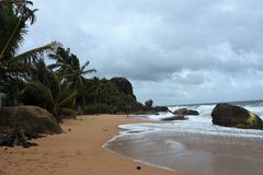 Cena calma da praia em Sri Lanka do sul foto de stock royalty free