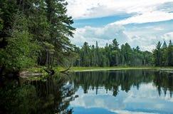 Cena canadense da região selvagem ao remar a canoa imagens de stock royalty free